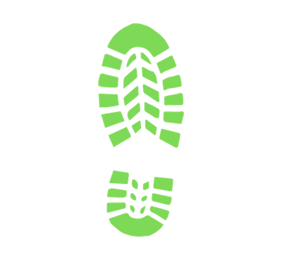 A small graphic of a green hiking boot