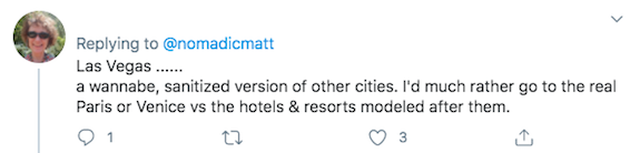 A Twitter screenshot about Las Vegas