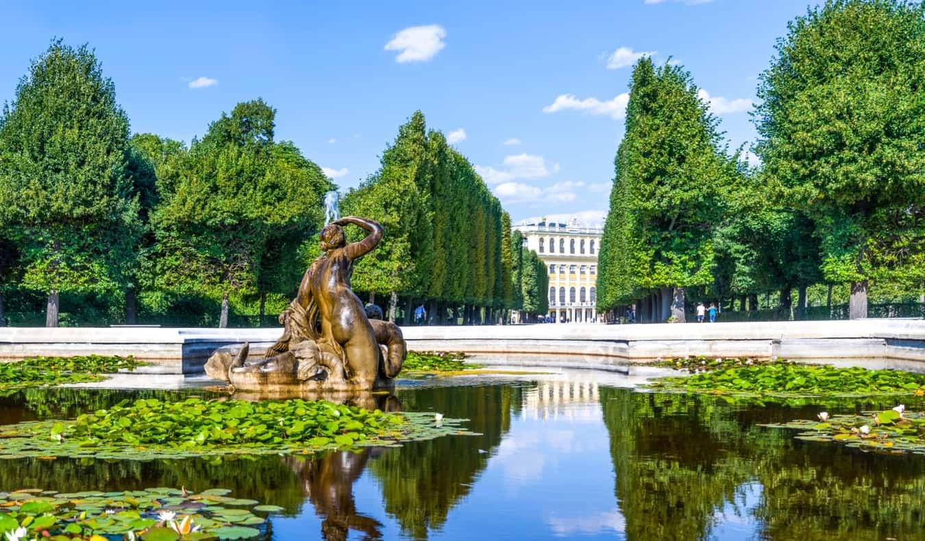 A calm fountain reflecting the trees near a palace in Vienna, Austria