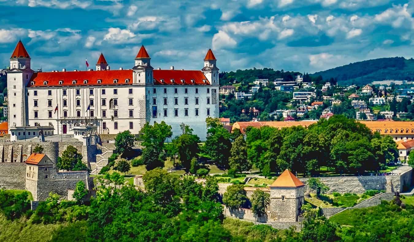A huge old castle in Bratislava, Slovakia in the summer