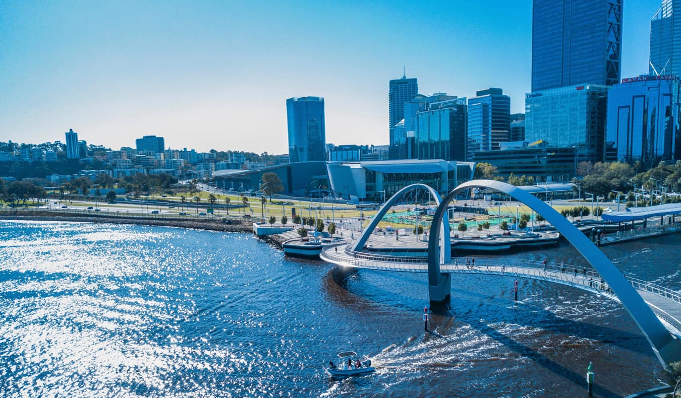The skyline of Perth, Australia near the coast in the summer