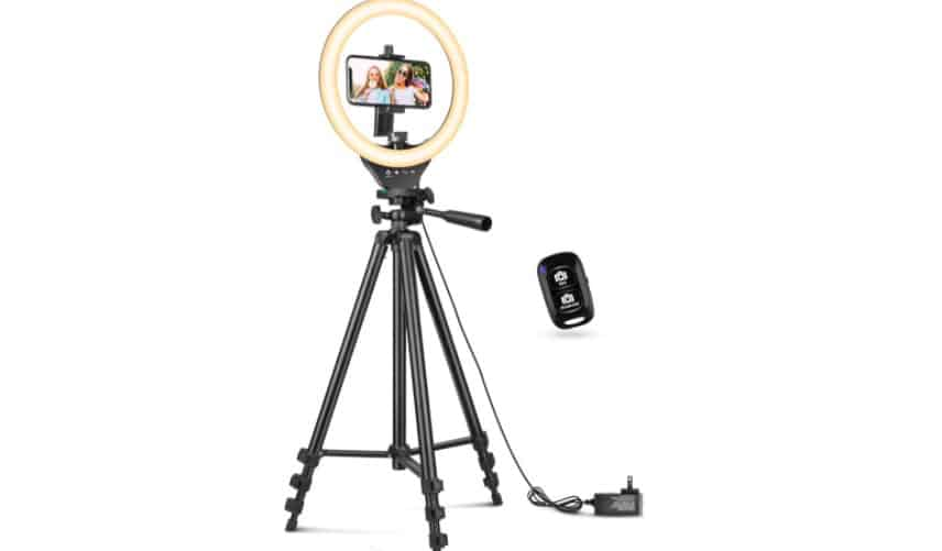 A ring light on a tall tripod