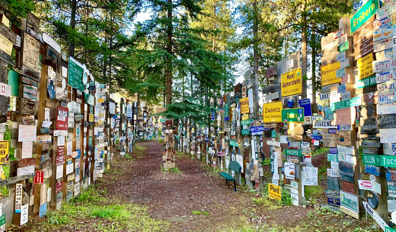 Colorful signs in the Signpost Forest in Yukon, Canada