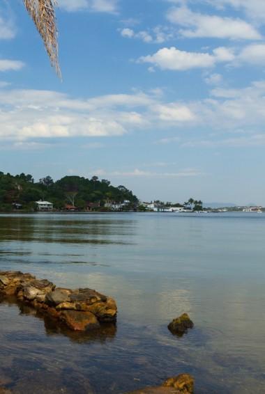 The calm waters of Lagoa de Conceicao in Brazil