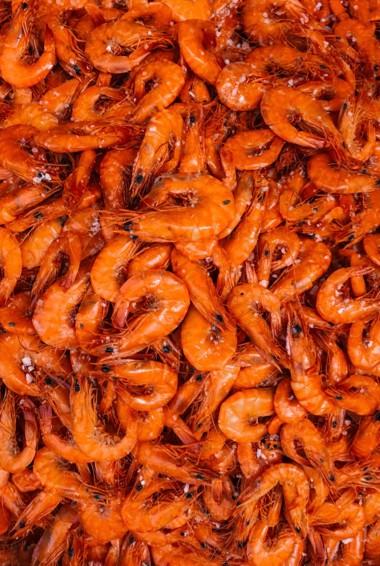 A pile of shrimp
