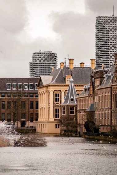 The exterior of the Mauritshuis in The Hague, Netherlands