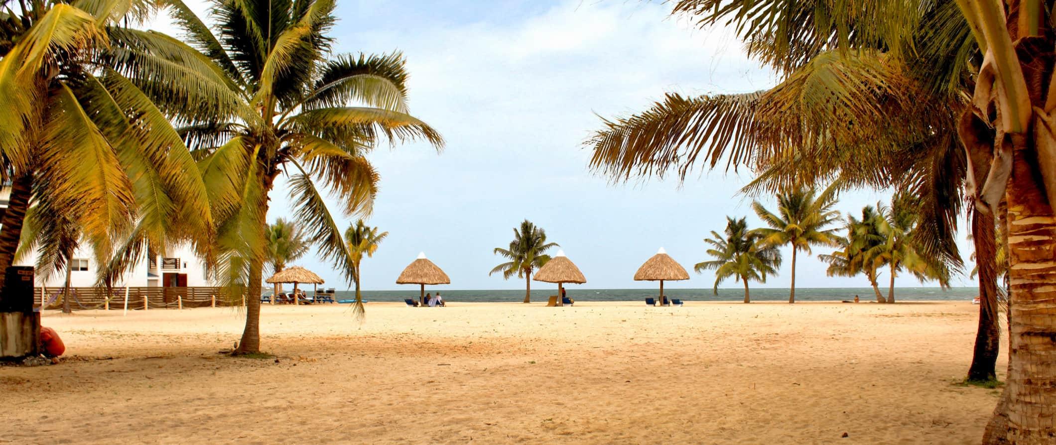 A beach scene in Placencia, Belize