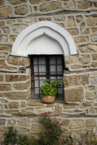 A small plant in the window of Arbanasi in Bulgaria