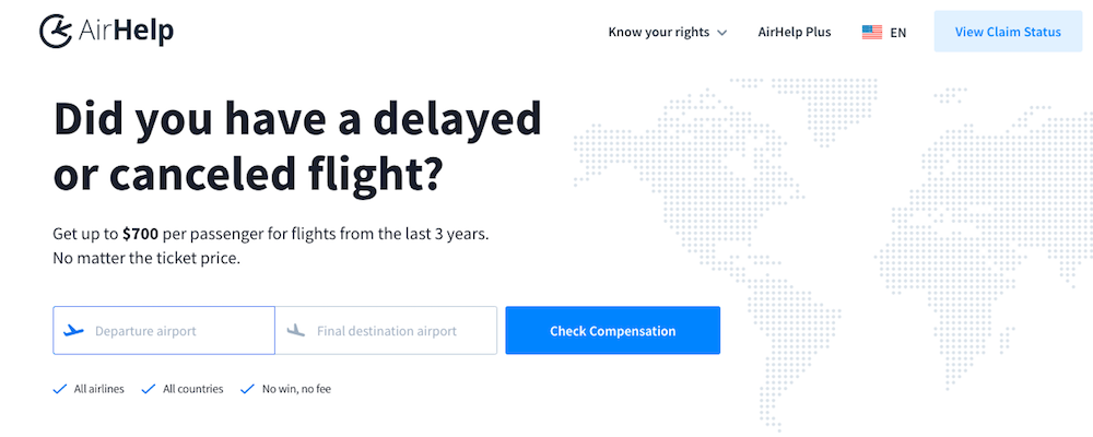 A screenshot from the airhelp website