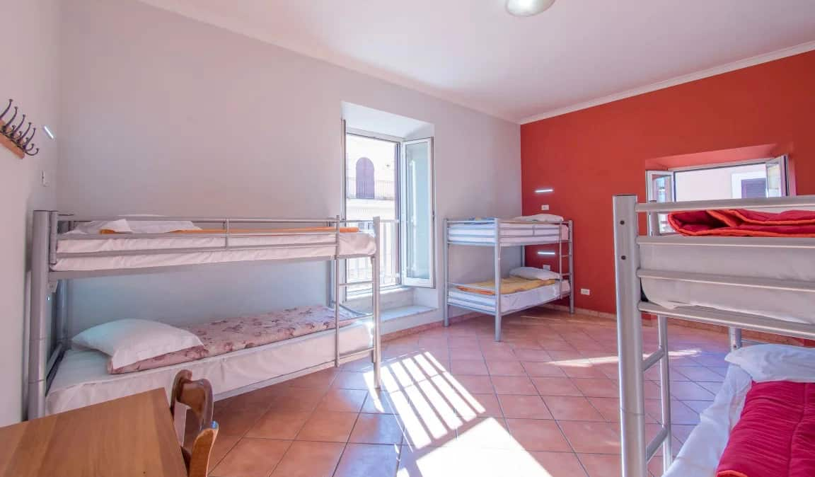 Bunk beds in the Alessandro Palace hostel in Rome, Italty