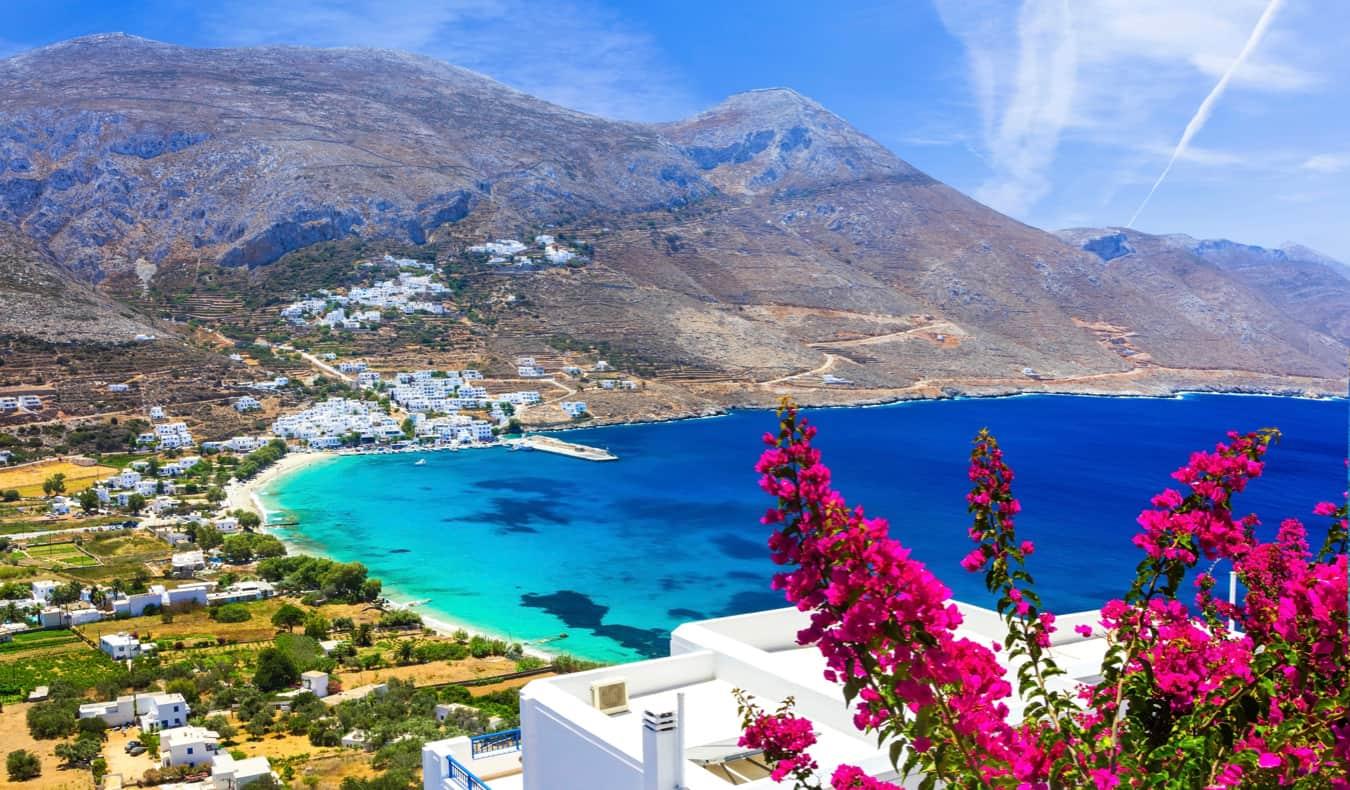 A picturesque coastal scene on the island of Amorgos, Greece