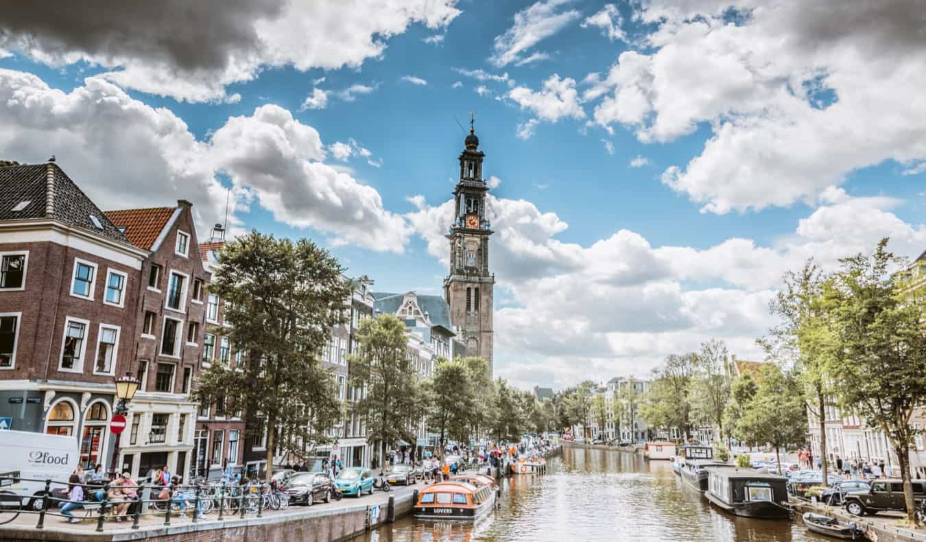 A sunny day in Jordaan, Amsterdam along the canals