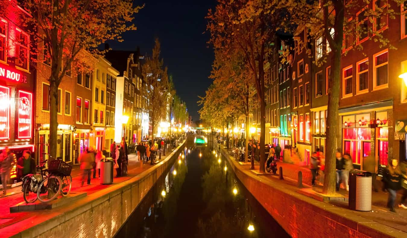 The famous Red Light District at night in Amsterdam, Netherlands
