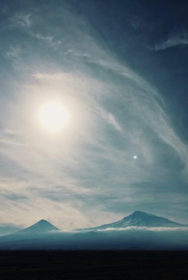 A moody photo of Mount Ararat, Armenia