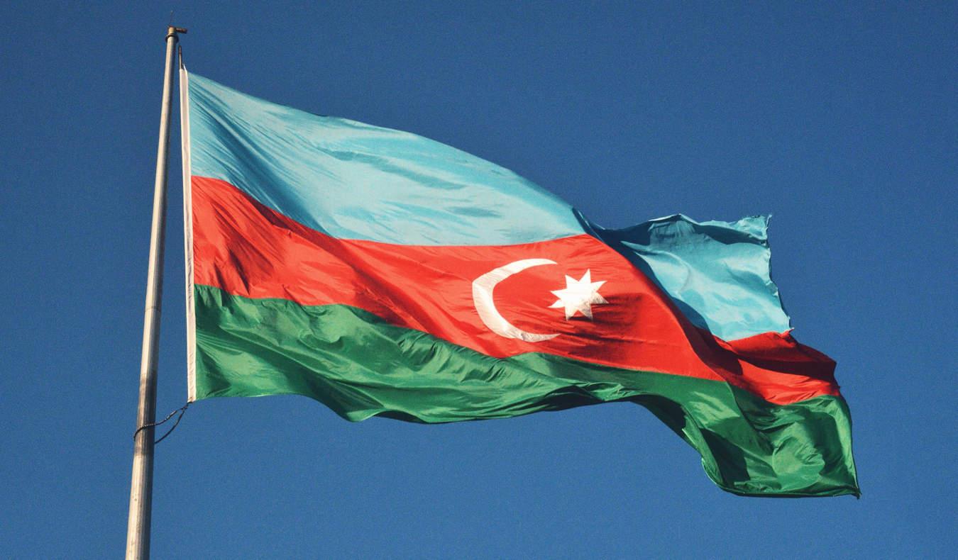 The Azerbaijan flag waving in the wind