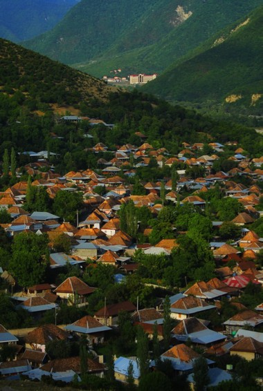 The dense forests surrounded a small village in Sheki, Azerbaijan