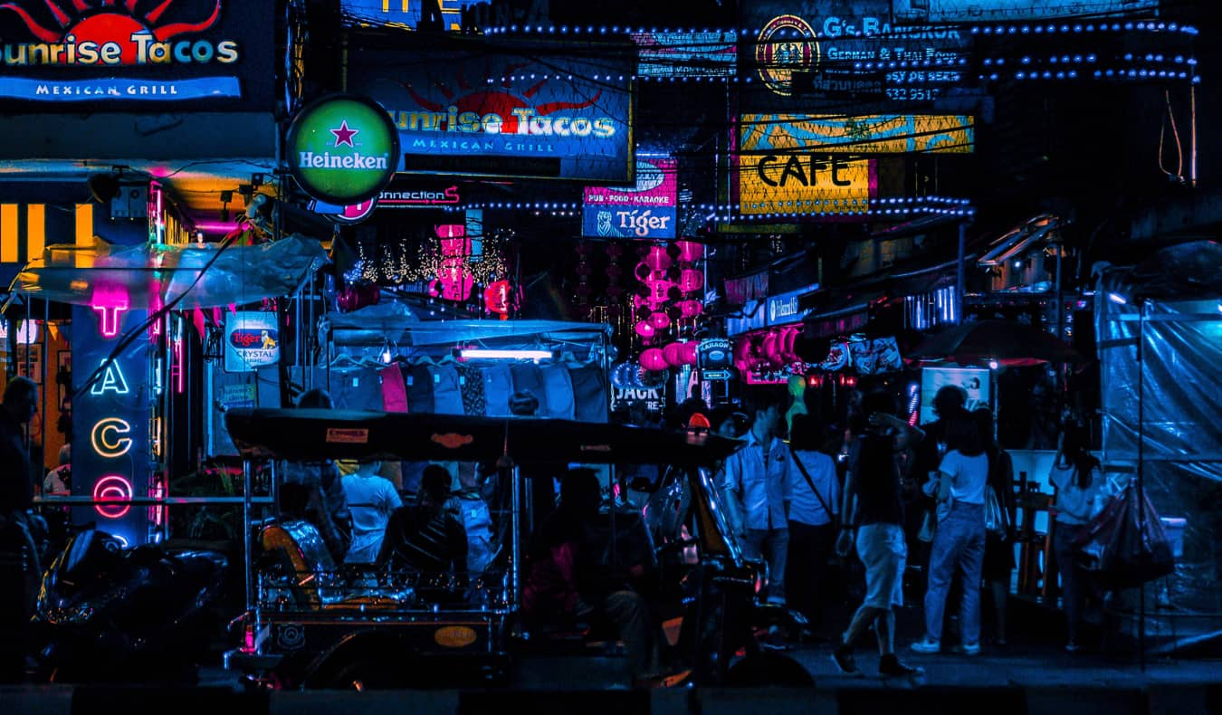 Downtown Bangkok in the Silom district at night