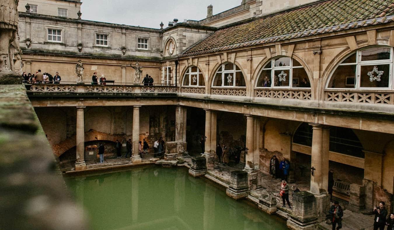 The ancient Roman bath in Bath, UK