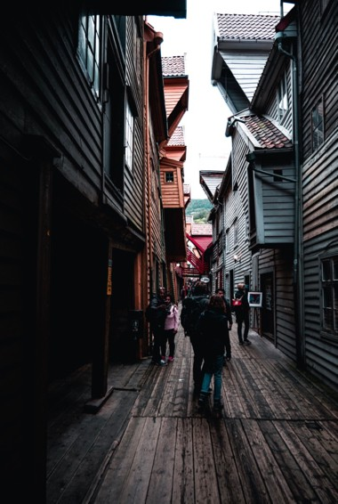 the narrow streets of the old city in Bergen, Norway