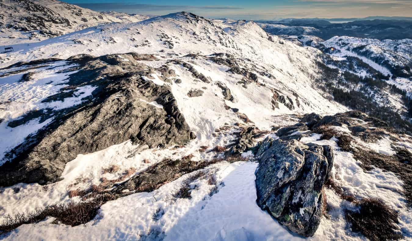 Snow on Mount Ulriken in Bergen, Norway