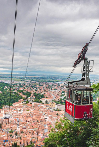 The cable car up Tampa Mountain in Brasov, Romania