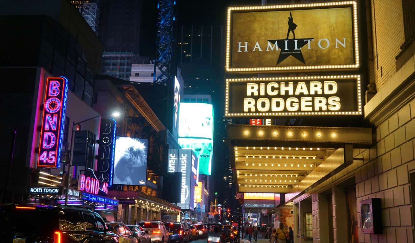 A sign for Broadway's Hamilton in Times Square, NYC