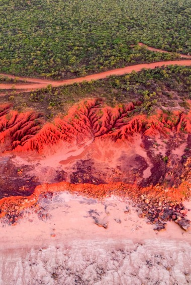 The bright red rocks of James Price Point near Broome, Australia