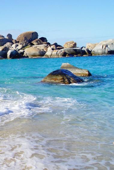 The Baths beach area in the British Virgin Islands