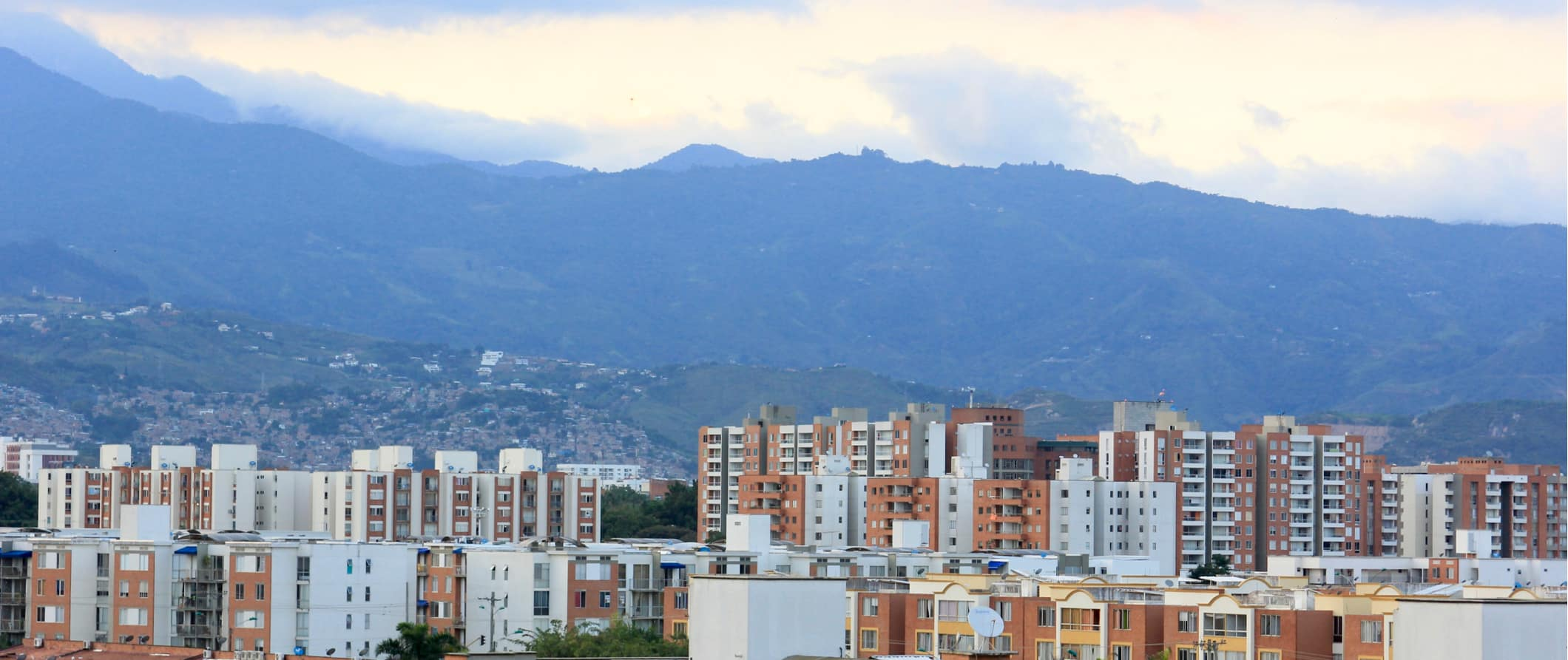 The skyline of Cali, Colombia with mountains in the distance