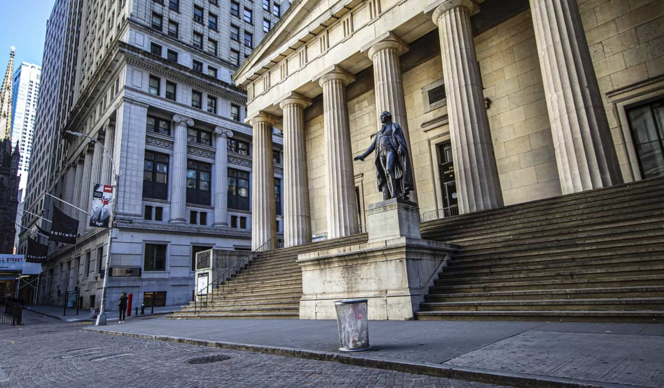 A statue of George Washington outside of Federal Hall in New York City, USA