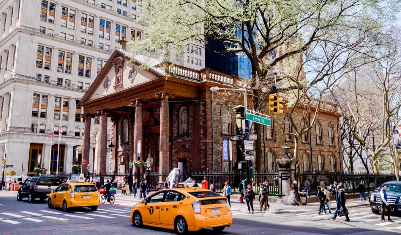 The brown exterior of St. Paul's Chapel in downtown Manhattan in New York City, USA
