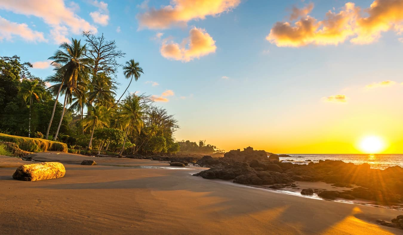 The stunning beach of Corcovado National Park in Costa Rica