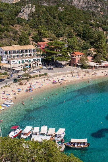 The Paleokastritsa beach in Corfu, Greece