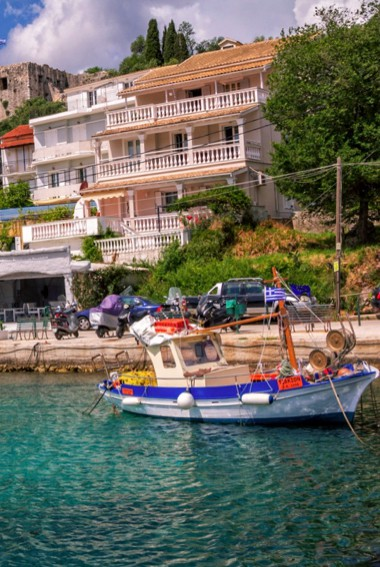 The village of Kassiopi in Corfu, Greece in the summer