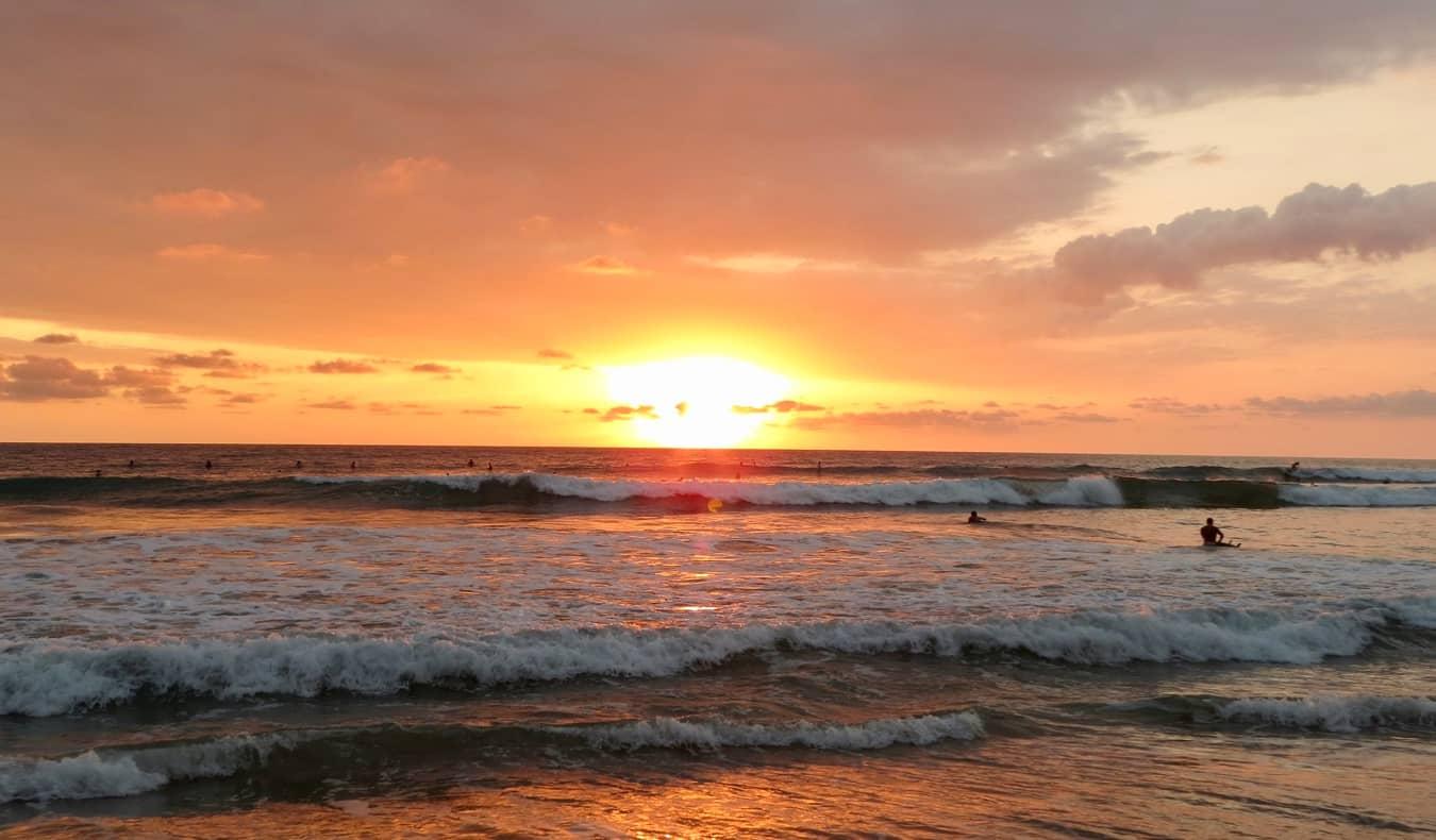 The wide, white-sand beach of Santa Teresa, Costa Rica