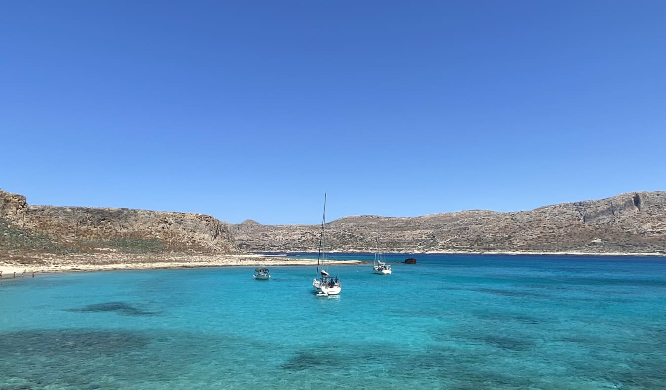 The clear, beautiful waters around Crete, Greece
