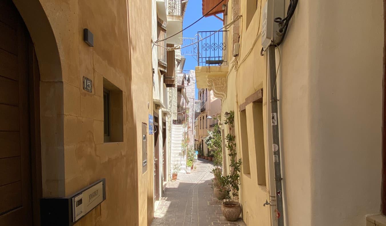 A narrow alley in Crete, Greece