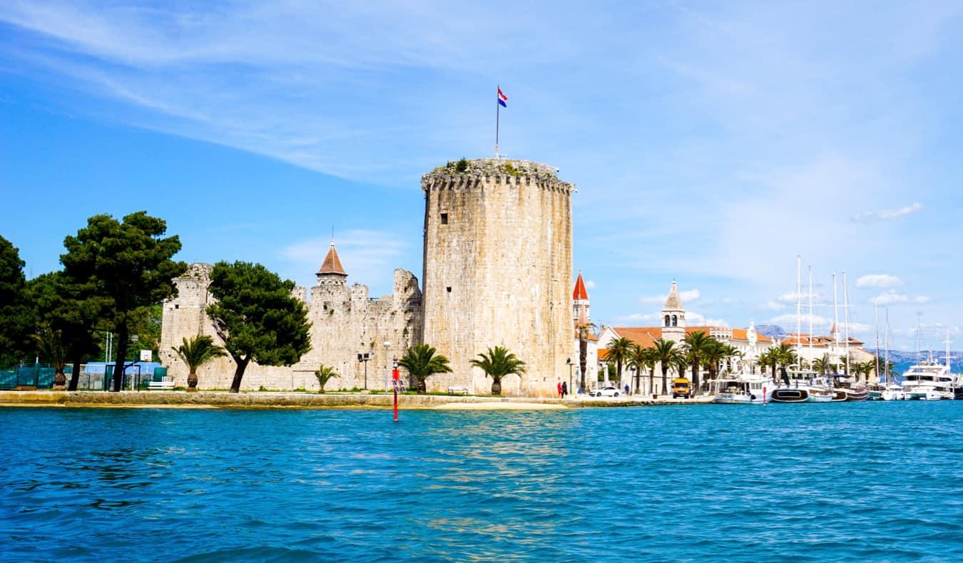 The colorful waters near Trogir on the Dalmatian Coast of Croatia