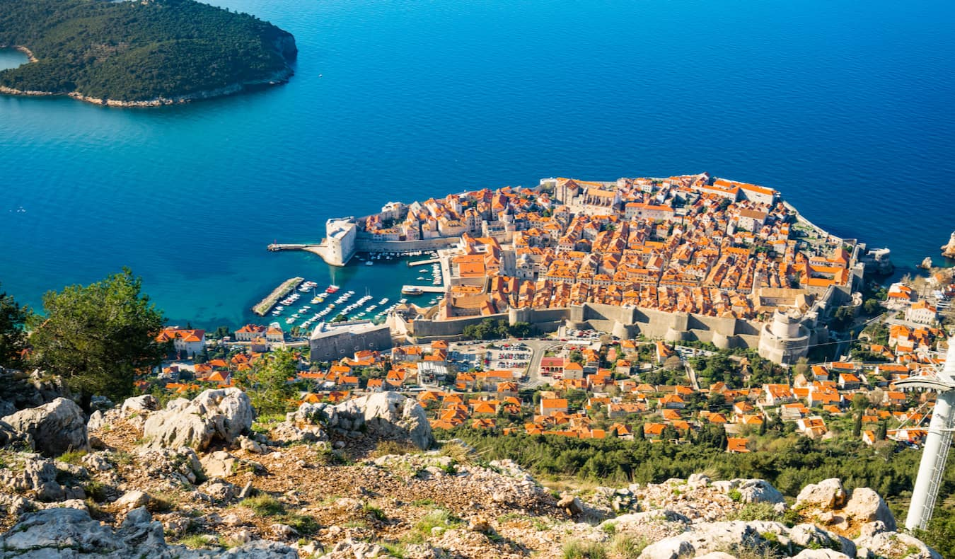 The bustling capital of Dubrovnik, Crotia as seen from the hills above