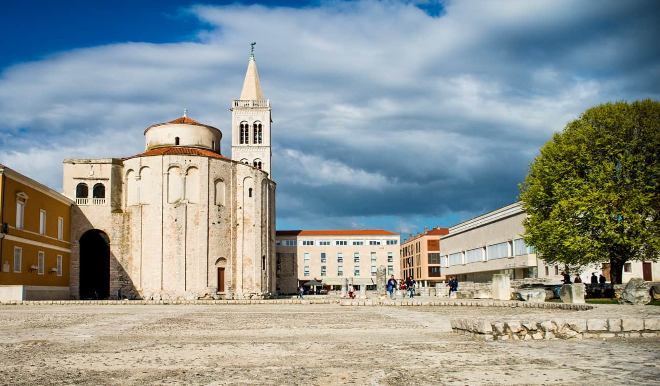 A large, empty plaza in the Old Town of Zadar, Croatia