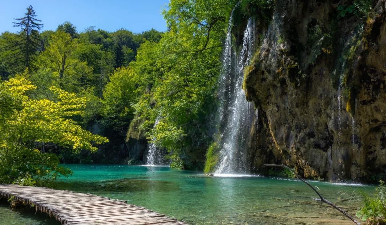 A beautiful boardwalk along the waters of Plitvice Park in Croatia