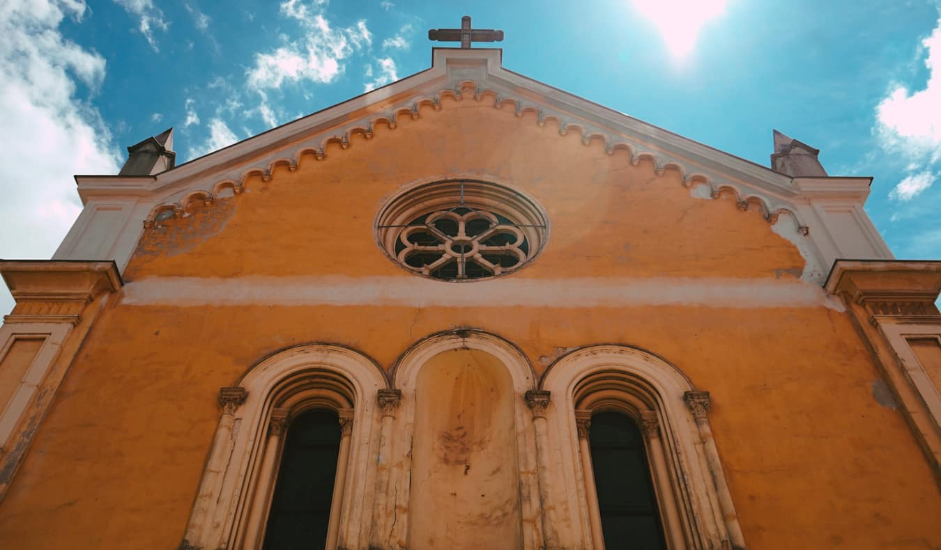 A colorful historic church in Karlovac, Croatia