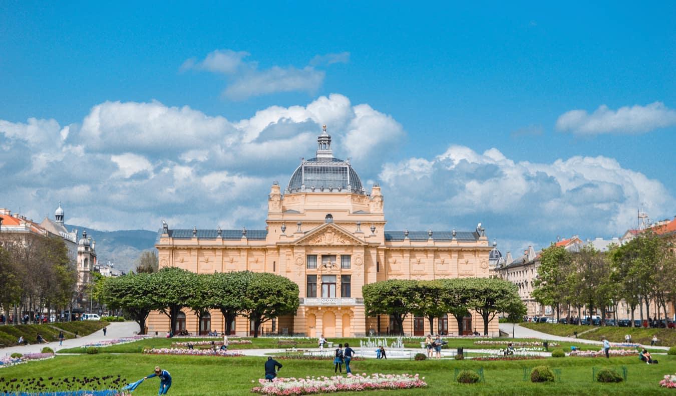 A huge palatial building in Zagreb, Croatia