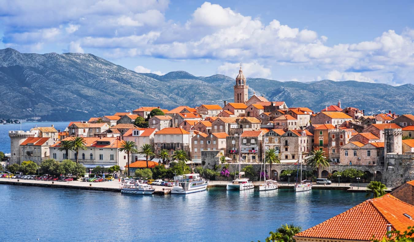 The scenic view of Korcula town and its historic houses in Croatia