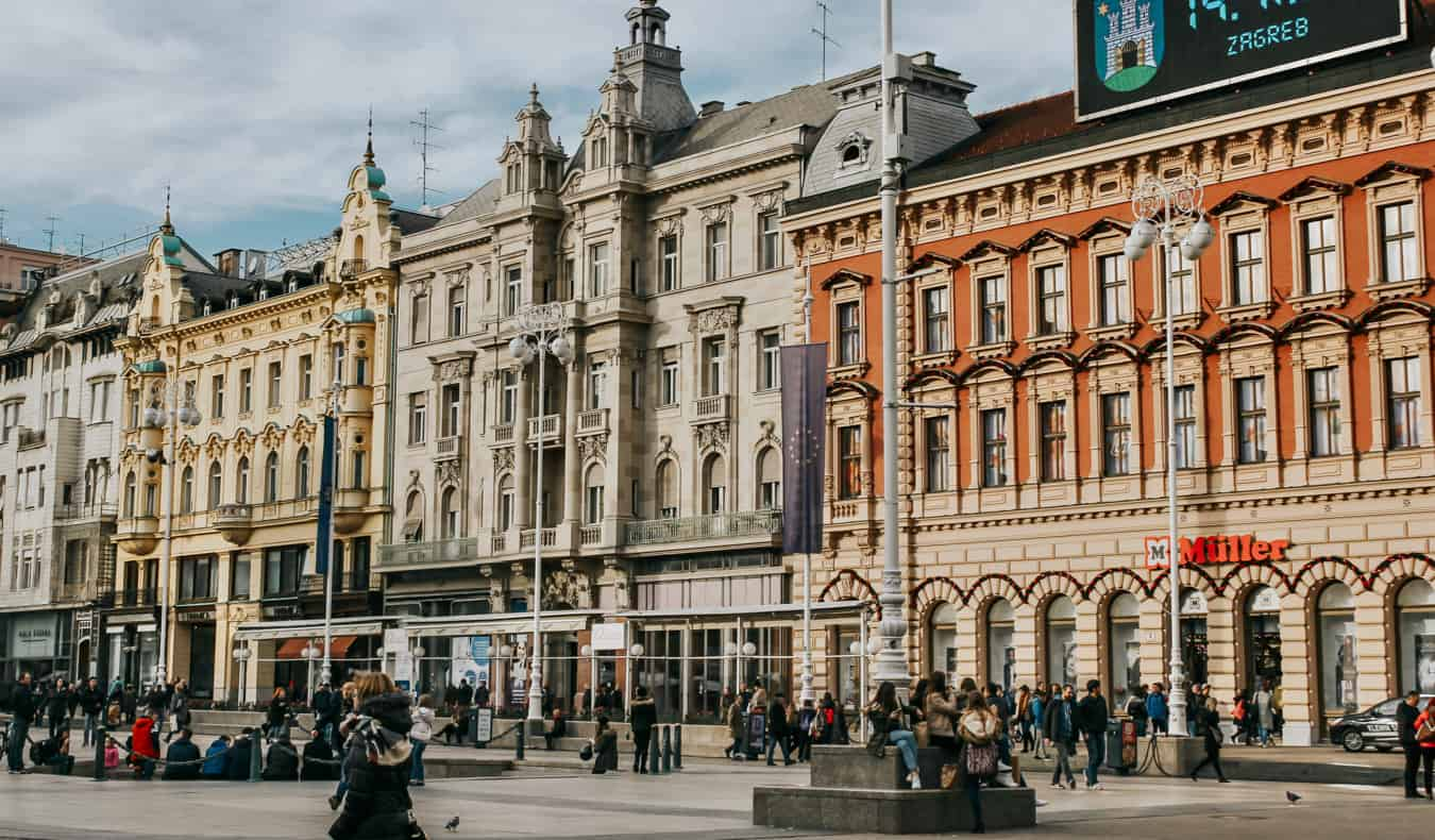 The colorful old buildings of Zagreb, Croatia