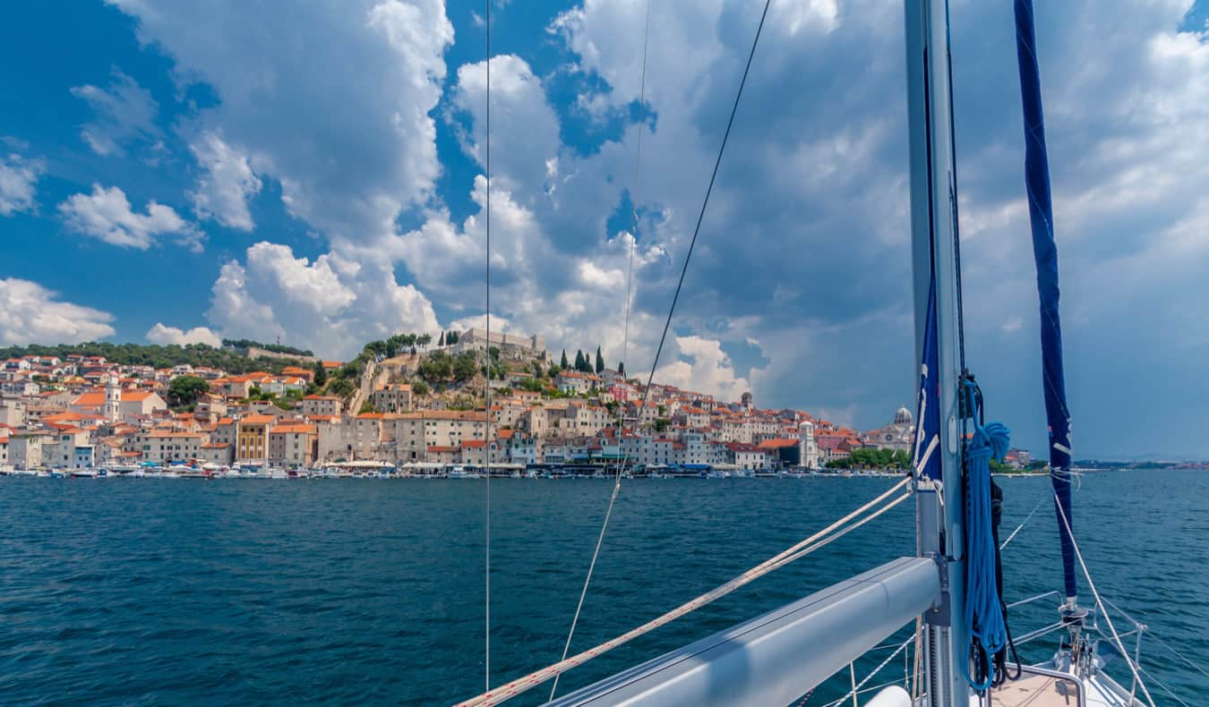 A boat sailing in the clear waters of Croatia