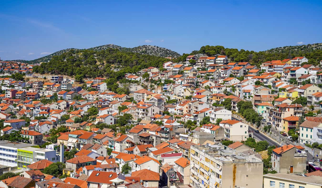 The view overlooking Šibenik and its numerous old houses in Croatia