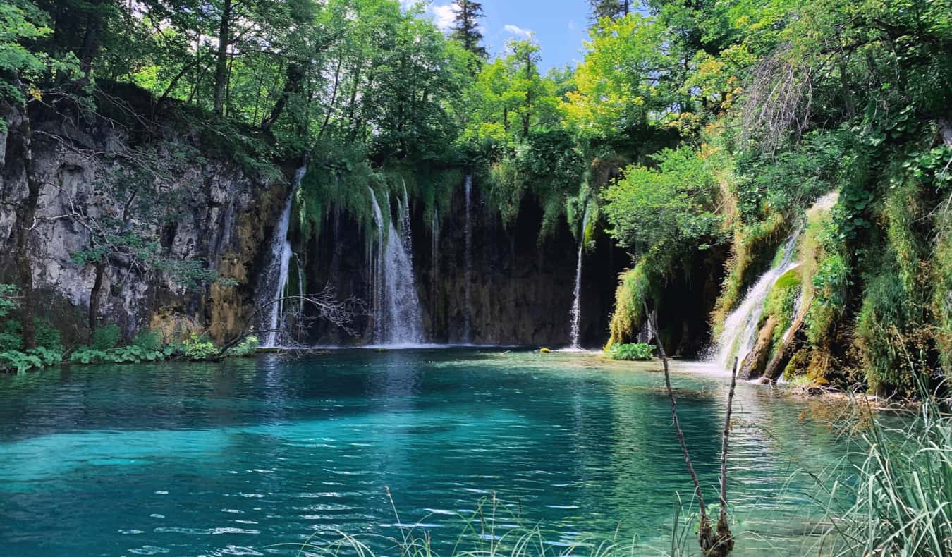The calm, clear waters of Plitvice lake in Croatia