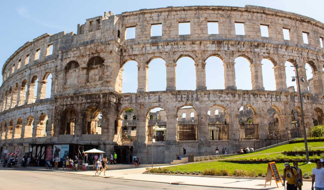 The old Roman amphitheater in Pula, Coratia on the Istrian Peninsula