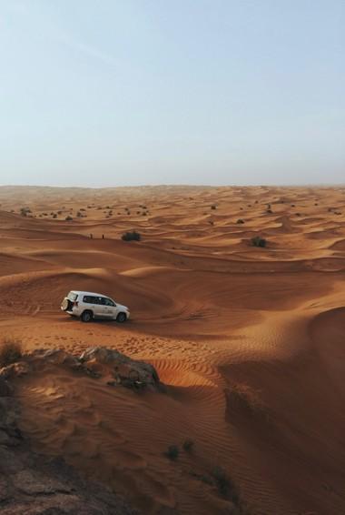 A vehicle in the desert near Dubai, UAE